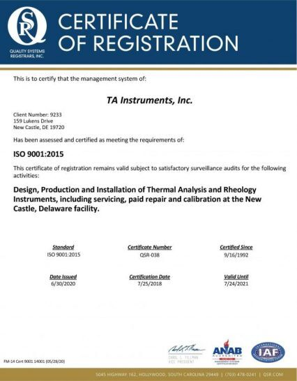 ISO Certification TA Instruments 2020 re-release